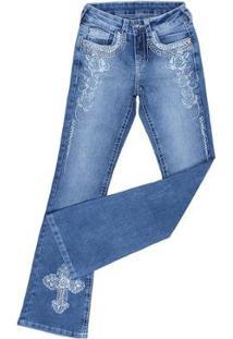 Calça Jeans Tassa Boot Cut Bordada Feminina - Feminino