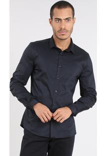 Camisa Masculina Super Slim Manga Longa Preta