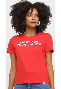 Camiseta Cavalera Fight For Your Rights Feminina - Feminino-Vermelho