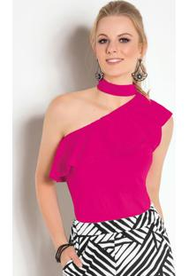 Blusa Com Babado E Amarração No Pescoço Pink