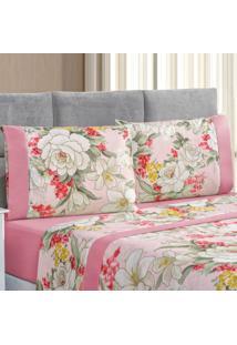 Jogo De Cama Forest Floral Rosa Casal Micropercal 200 Fios 04 Peã§As - Rosa - Dafiti