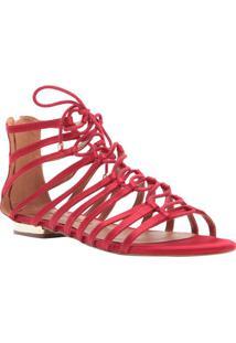 Sandália Rasteira De Camurça Com Tiras - Vermelhacecconello