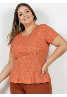 Blusa Poá Laranja Com Recortes Plus Size