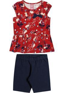 Conjunto De Blusa Floral + Bermuda - Vermelho & Azul Marbitokinha