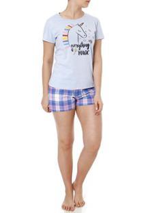 Pijama Curto Feminino Azul/Lilás