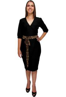 Vestido Alfaiataria Com Top De Renda Bella Herança Preto