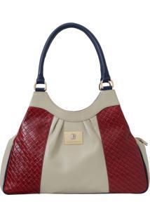 Bolsa Laura Prado Grande Marfim/Vermelho