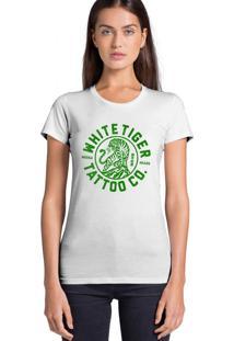 Camiseta Feminina Joss Whitetiger Verde Branco