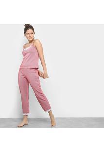 Pijama Flora Zuu Babado Feminino - Feminino-Vermelho+Branco