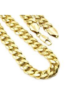 Corrente Folheada A Ouro 18K Tudo Jóias Modelo Elo Losango - Masculino-Dourado
