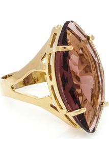 Anel Banho De Ouro Cristal Navete - Feminino-Dourado