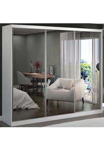 Guarda-Roupa Casal 3 Portas De Correr 3 Espelhos 100% Mdf 8805E3 Branco - Foscarini