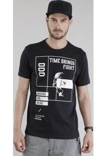 "Camiseta ""Time Brings Fight"" Preta"
