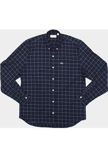 Camisa Xadrez Lacoste Regular Fit Com Bolso Masculina - Masculino