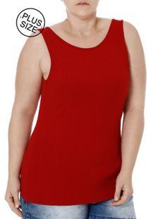 bbc3378f64 ... Blusa Regata Plus Size Feminina Autentique Vermelho