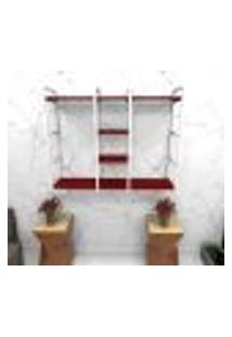 Estante Estilo Industrial Sala Aço Cor Branco 120X30X98Cm Cxlxa Cor Mdf Vermelho Modelo Ind47Vrsl