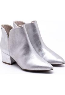 Ankle Boot Couro Metalizada Prata