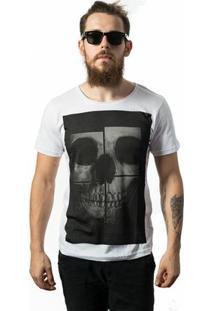 Camiseta Estonada Skull Lab Skull Mirror - Masculino-Branco