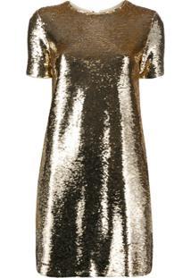 Emporio Armani Vestido Com Paetês - Dourado