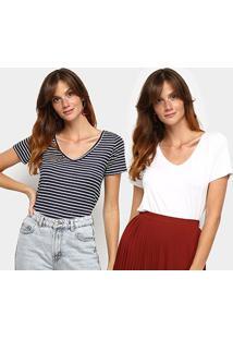 Kit Camiseta Avanzi Gola V 2 Peças Feminino - Feminino-Branco+Preto