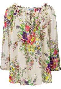 Blumarine Blusa Floral Ampla - Neutro