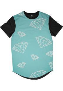 Camiseta Bsc Longline Diamantes Dm Sublimada Masculina - Masculino-Azul