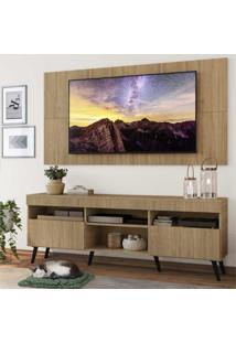 """Rack Com Painel Tv 65"""""""" Londres Multimóveis Pés Retrô E 2 Portas Rustic/Preto"""
