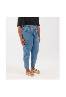 Calça Jeans Mom Marmorizada Curve & Plus Size | Ashua Curve E Plus Size | Azul | 52