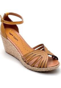 Sandália Anabela Couro D&R Shoes Feminina - Feminino-Caramelo