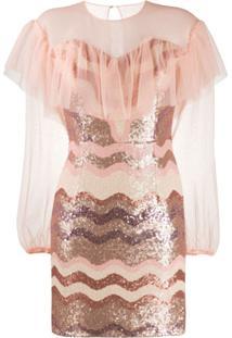 Three Floor Vestido Mini Daydreaming Com Paetês - Rosa