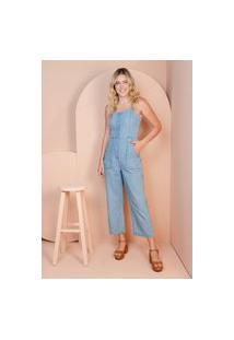 Macacão Pantacourt Sisal Jeans Sem Mangas Azul