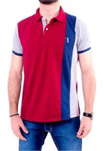 Camisa Polo Golf Club Listrada Masculina - Masculino-Cinza+Vinho