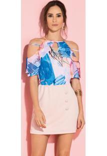 Blusa Floral Com Alças Duplas E Mangas
