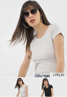 Kit 2Pçs Blusa Polo Wear Logo Preta/Cinza