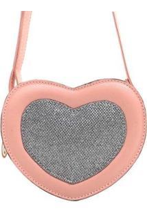 Bolsa Coração Com Brilho Feminino - Feminino-Rosa