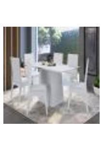Conjunto De Mesa Com 6 Cadeiras Branco Lilies Móveis