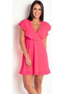 Vestido Com Babado No Decote Rosa Fluorescente
