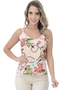 Blusa Mamorena Alcinha Cordão Algodão Floral Rosa