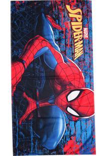 Toalha De Banho Lepper Kids Spider Man Aveludada 75X140Cm Azul