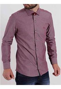 Camisa Amil Slim Manga Longa Masculina - Masculino-Vinho
