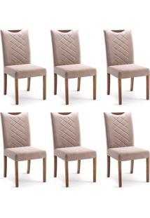 Conjunto Com 6 Cadeiras De Jantar Estela Marrom Claro E Imbuia