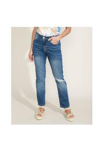 Calça Jeans Feminina Reta Cintura Alta Destroyed Azul Escuro