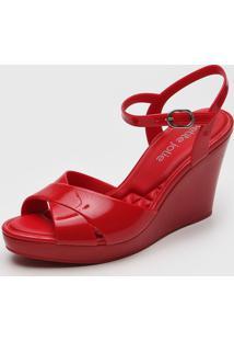 Sandã¡Lia Petite Jolie Transpasse Vermelha - Vermelho - Feminino - Pvc - Dafiti