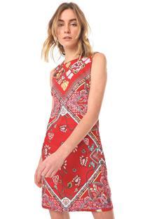 Vestido Linho Desigual Curto Lisa Vermelho