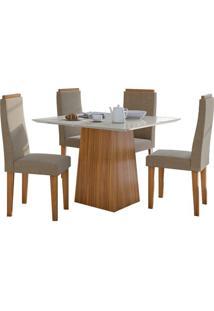 Sala De Jantar Nevada 100Cm Com 4 Cadeiras Rovere Sued Animale Bege