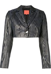 Manning Cartell Blazer Cropped Com Lurex - Azul