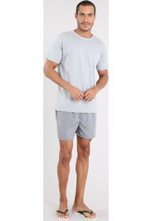 Pijama Masculino Com Camiseta Manga Curta + Samba Canção Estampada Xadrez Cinza Mescla