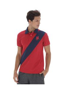 Camisa Polo Polo Us 194 - Masculina - Vermelho/Azul Esc