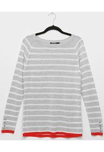 Suéter Tricot Miose Listrado Alongado Feminino - Feminino-Off White