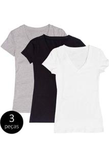 Kit Com 3 Blusas Part.B Decote V Colors - Feminino-Branco+Preto